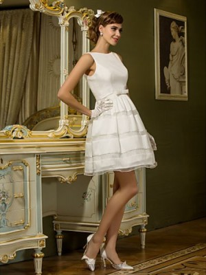 A line Bateau Short Mini Taffeta Wedding Dress with Sash Ribbon Button