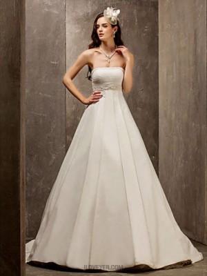 A line Princess Strapless Sweep Brush Train Satin Tulle Wedding Dress with Beading Sash Ribbon Ruche
