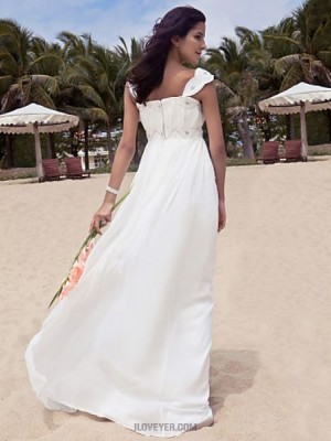 A Line Scoop Neck Floor Length Chiffon Wedding Dress with Beading Draped