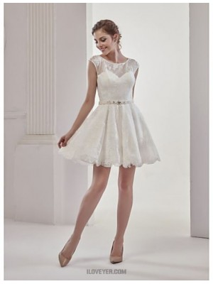 A line Jewel Short Mini Lace Wedding Dress with Beading Lace