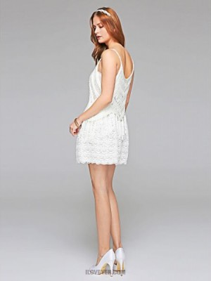 Sheath Column Scoop Short Mini Lace Wedding Dress with Lace Draped