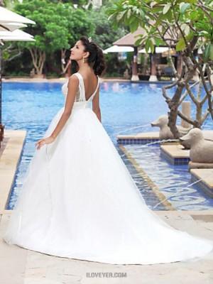 A line Princess V neck Straps Court Train Satin Tulle Wedding Dress with Draped