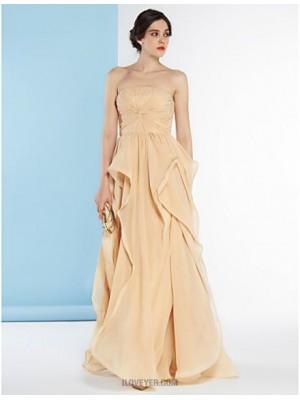 A line Strapless Floor Length Chiffon Wedding Dress with Criss Cross