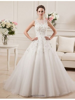 A line Bateau Court Train Satin Tulle Wedding Dress with Beading Lace