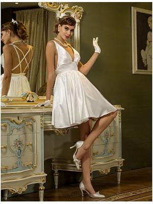 A line V neck Short Mini Stretch Satin Wedding Dress with Draped