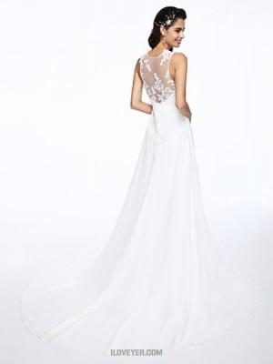 A line Jewel Court Train Chiffon Wedding Dress with Appliques