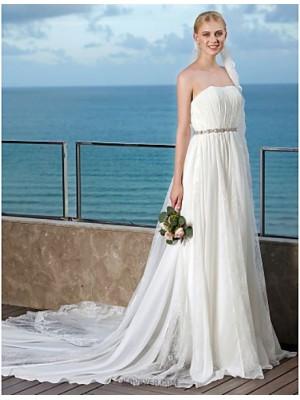 A Line Strapless Chapel Train Chiffon Lace Wedding Dress with Beading Sash Ribbon Draped