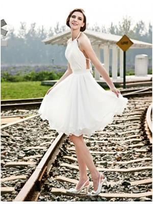 A line Princess Halter Knee Length Chiffon Wedding Dress with Beading Sash Ribbon Draped