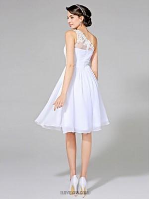 A line Sexy One Shoulder Knee Length Chiffon Wedding Dress with Appliques Sash Ribbon