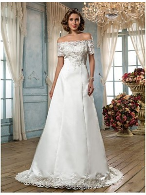 A line Off the shoulder Sweep Brush Train Satin Wedding Dress with Beading Appliques Button