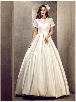 A line Jewel Floor Length Satin Wedding Dress with Draped