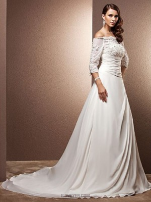 A line Off the shoulder Court Train Chiffon Wedding Dress with Pearl Appliques Button Ruche