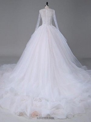 A line Jewel Cathedral Train Organza Satin Tulle Wedding Dress with Crystal Beading Appliques Lace