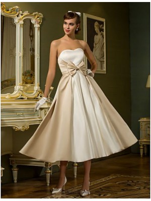 A line Princess Sweetheart Tea Length Satin Wedding Dress with Bow