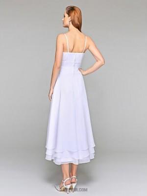 A line Spaghetti Straps Tea Length Chiffon Wedding Dress with Tiered Flower Side Draped