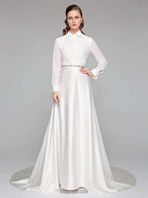 A line High Neck Chapel Train Chiffon Lace Satin Wedding Dress with Sash Ribbon Bow