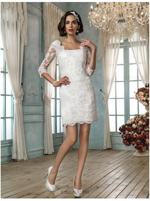 Sheath Column Square Short Mini Lace Wedding Dress with Appliques