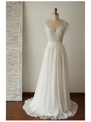 A line Scoop Sweep Brush Train Chiffon Lace Wedding Dress with Appliques