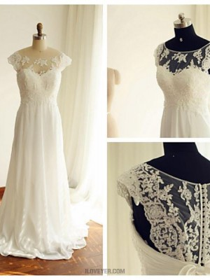 A line Scoop Court Train Chiffon Lace Wedding Dress with Beading Lace Bow