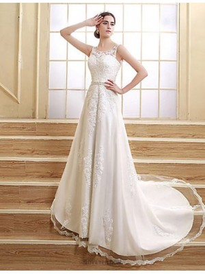 A line Jewel Court Train Satin Tulle Wedding Dress with Beading Appliques