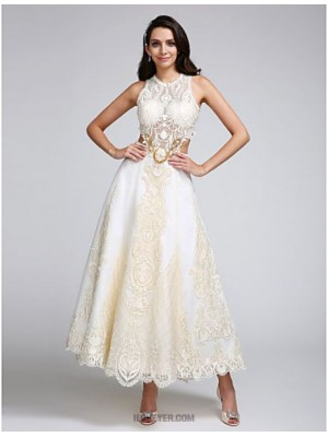 A line Jewel Ankle Length Lace Satin Wedding Dress with Appliques Lace