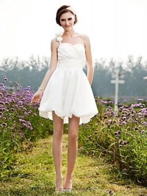 A line Princess Sexy One Shoulder Short Mini Taffeta Wedding Dress with Flower Ruche Side Draped
