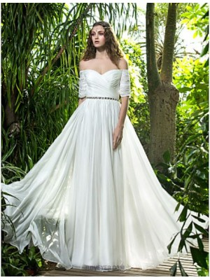 A line Off the shoulder Floor Length Chiffon Wedding Dress with Crystal Criss Cross Ruche
