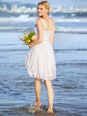 A line Spaghetti Straps Knee Length Chiffon Wedding Dress with Beading Sash Ribbon Ruche Side Draped