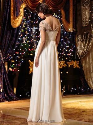 A line Scoop Neck Floor Length Chiffon Wedding Dress with Beading Criss Cross