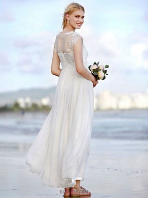 A line Jewel Ankle Length Chiffon Wedding Dress with Appliques Criss Cross Ruching
