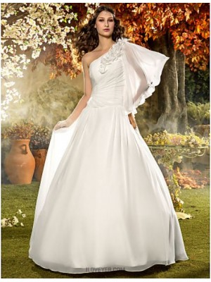A line Sexy One Shoulder Floor Length Chiffon Wedding Dress with Flower Side Draped