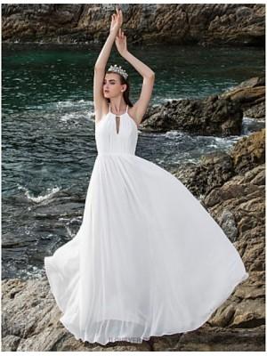 A Line Halter Floor Length Chiffon Wedding Dress with Draped