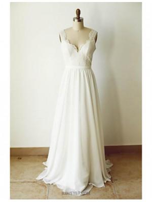 A line Straps Court Train Chiffon Wedding Dress with Appliques Sash Ribbon Button