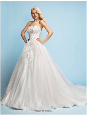 A line Princess Sweetheart Court Train Lace Satin Tulle Wedding Dress with Beading Appliques Sash Ribbon Flower