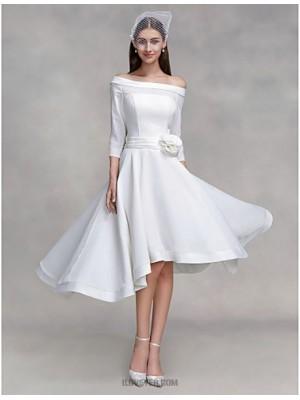 A line Off the shoulder Asymmetrical Chiffon Satin Wedding Dress with Flower Button