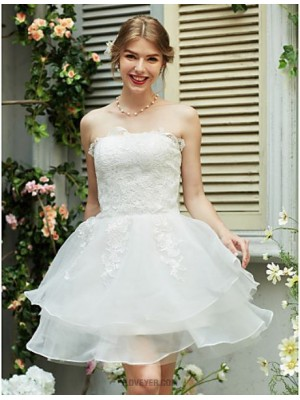 A line Strapless Short Mini Organza Satin Wedding Dress with Appliques