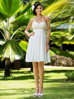 A line Princess Sweetheart Knee Length Chiffon Wedding Dress with Beading Appliques Sash Ribbon Draped