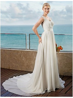A line Straps Chapel Train Chiffon Wedding Dress with Appliques Sashes Ribbons