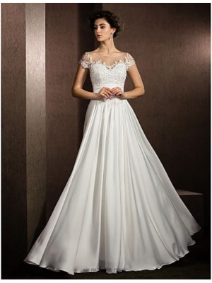A line Scoop Neck Floor Length Satin Chiffon Wedding Dress with Beading Appliques