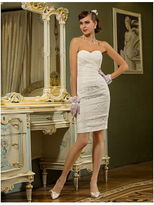 Sheath Column Sweetheart Short Mini Lace Wedding Dress with Criss Cross Ruche