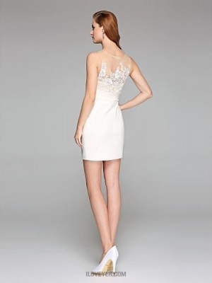 Sheath Column Jewel Short Mini Lace Satin Wedding Dress with Appliques Side Draped