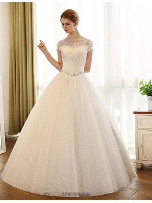 A line Scoop Floor Length Lace Satin Tulle Wedding Dress with Appliques Lace