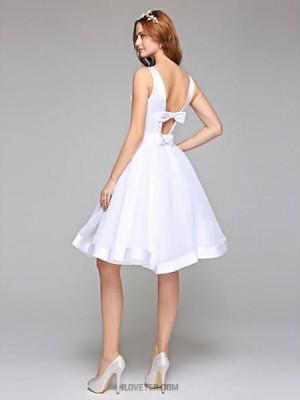 A line Bateau Knee Length Organza Satin Wedding Dress with Sash Ribbon Bow