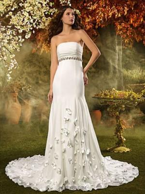 A line Strapless Court Train Chiffon Wedding Dress with Crystal Sash Ribbon Flower Ruche
