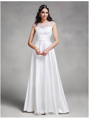 A line Bateau Floor Length Satin Wedding Dress with Sash Ribbon
