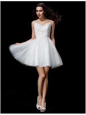 A Line Ball Gown Jewel Neck Short Mini Tulle Wedding Dress with Beading Appliques Button
