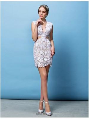 Sheath Column V neck Short Mini Lace Wedding Dress with Appliques