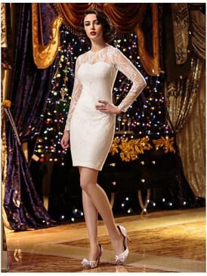 Sheath Column Jewel Short Mini Lace Wedding Dress with Lace