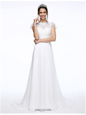 A line Bateau Court Train Chiffon Lace Wedding Dress with Sash Ribbon Button Flower