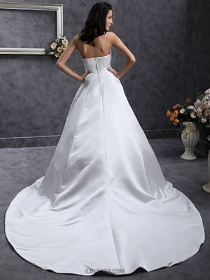 A line Princess Strapless Sweetheart Chapel Train Lace Satin Wedding Dress with Beading Appliques Lace Sash Ribbon